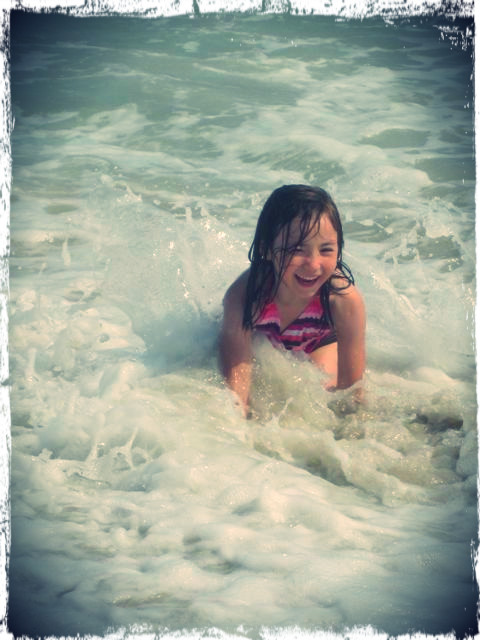 playing in waves